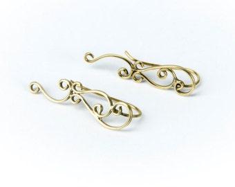 Tribal Floral Hooks Brass Earrings handmade, Tribal Earrings, Nickel Free, Indian Jewellery, Gift boxed, Free UK postage BG6