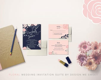 Floral Navy Blush Wedding Invitation Suite by Design Me Sweet