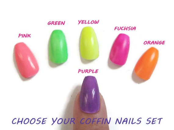 neon colors coffin ballerina false nails uñas glue on summer