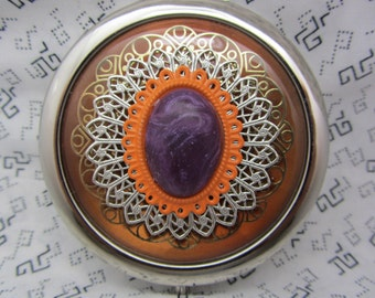 Compact Mirror Brown Purple and Orange Comes with Protective Pouch