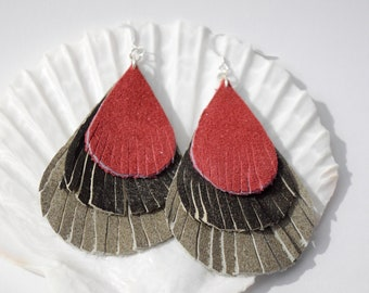 Leather Fringe Earrings | Leather Earrings | Teardrop Earrings | Fringe Earrings