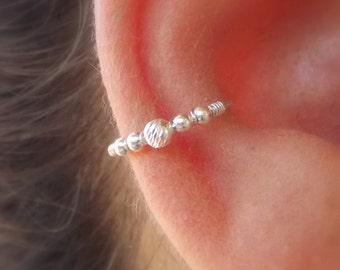 Sterling Silver Conch / Helix / Cartilage Hoop Ring piercing, Beaded Helix Hoop, Helix Jewelry, Diamond Cut bead,  conch jewelry