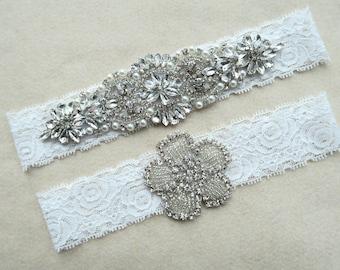Bridal garter,Toss garters ,Wedding garter ,white Garter set, with Pearl Crystal Rhinestone,lace garter style ,vintage lace WD19