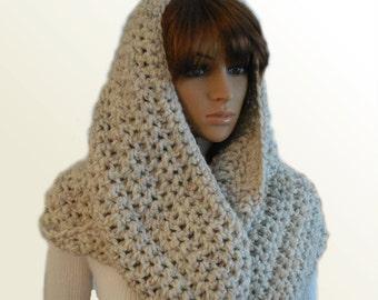 OVERSIZED INFINITY Scarf Crochet Extra Large Huge Hooded Mens Infinity Cowl Chunky Loop Beige Wheat Infiniti Scarf Womens Mens Knit Scarf