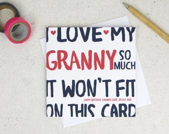 Funny Granny Birthday Card - personalised card - card for Granny - birthday card - funny card - Granny birthday - uk - grandma