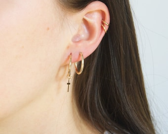 Gold hoops - big gold hoop earrings - chunky gold hoops - 9ct gold hoops - cross hoops - gold cross earrings - gold hoops - TC6505
