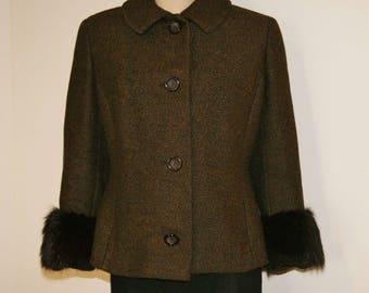 Vintage 50's Fox Fur Trimmed Black Brown Suit Jacket Blazer by Finess - Size M