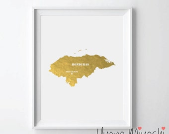 Honduras Map Gold Foil Print, Gold Print, Map Custom Print in Gold, Illustration Art Print, Honduras Map Gold Print, Honduras Map Print