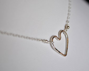 """Heart Necklace, sterling and fine silver 16"""""""