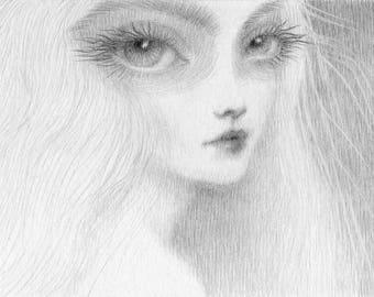 Gothic Art, ghostly lady art print, from original sketch drawing, big eye art, pop surrealism, lowbrow art, goth art, goth girl, ghost art