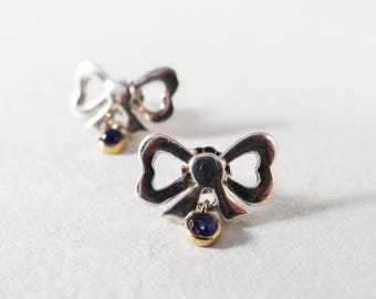 Sterling Silver 18k Yellow Gold Bow Stud Earrings with Dangle Sapphire Cabochons