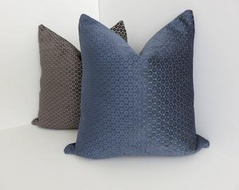 P/Kaufmann Fabrics- Blue Chenille Pillow Covers- Chenille Pillows- Blue Pillow Covers- Accent Pillows- Decorative Pillow Covers- Accent Home