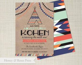 Aztec Birthday Invite . Tribal Birthday Invitation . Bohemian Party .  Arrows Invite . Printable Invitation