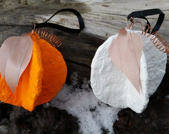Handmade Pumpkin Ornaments (Orange or White)