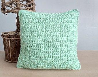 Crochet Throw Pillow Pattern (Basketweave Throw Pillow Crochet Pattern by Little Monkeys Crochet) PDF Crochet Throw Pillow Crochet Pattern