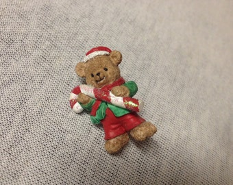 Vintage Teddy Bear with Santa Suit and Candy Cane Pin/Brooch