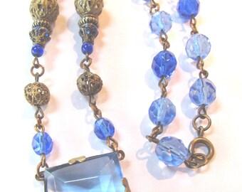 Cobalt and Sapphire Blue Cut Glass Victorian Antique Necklace