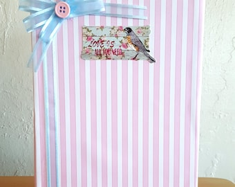 Pink White and Blue Pinstriped Homemade and Homebound BoundEra Journal