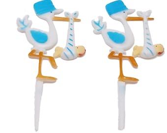 "12 Plastic Stork baby shower favors appliques picks 7"" tall"