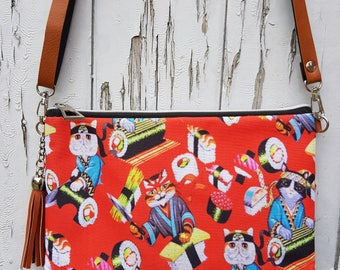 Red Japanese Sushi Cat Handbag - Kawaii Kitten Bag Brown