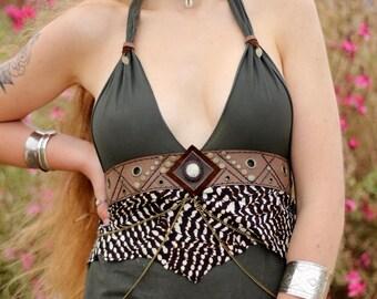 ZINNIA TOP  ↠ Geometric Leather chains festivals tribal boho hippie handmade