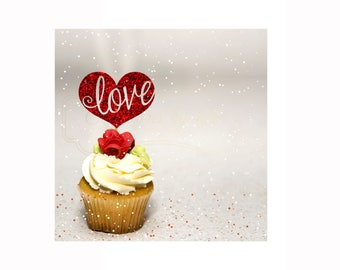 Love Cupcake Toppers - 12ct