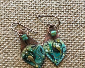 Bohemian Dream teal enameled copper earrings indie