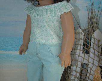 American, Made, boy, girl, doll, teal, denim, 18 inch, doll, capris, doll clothes
