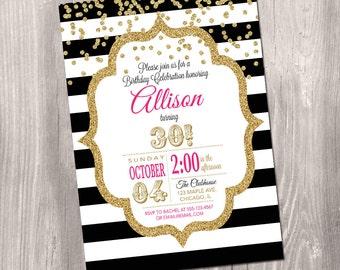 16th 30th 40th 50th 60th birthday invitation, confetti invitation, pink and gold, glitter, stripes, black and white, Printable Invitation