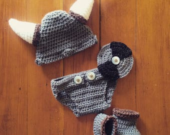 Baby 0-3mo Viking outfit crochet