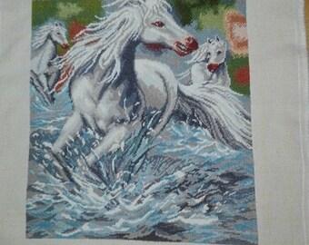"""Handmade Gobelin/Tapestry/Needlepoint """"Wild horses"""""""