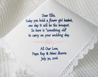Flower Girl Keepsake -Embroidered Wedding Handkerchief- Choose Your Wording and Design