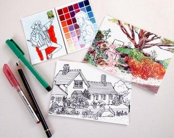 Sketchbook / Journal Illustration Art Postcard Prints Pack of 3