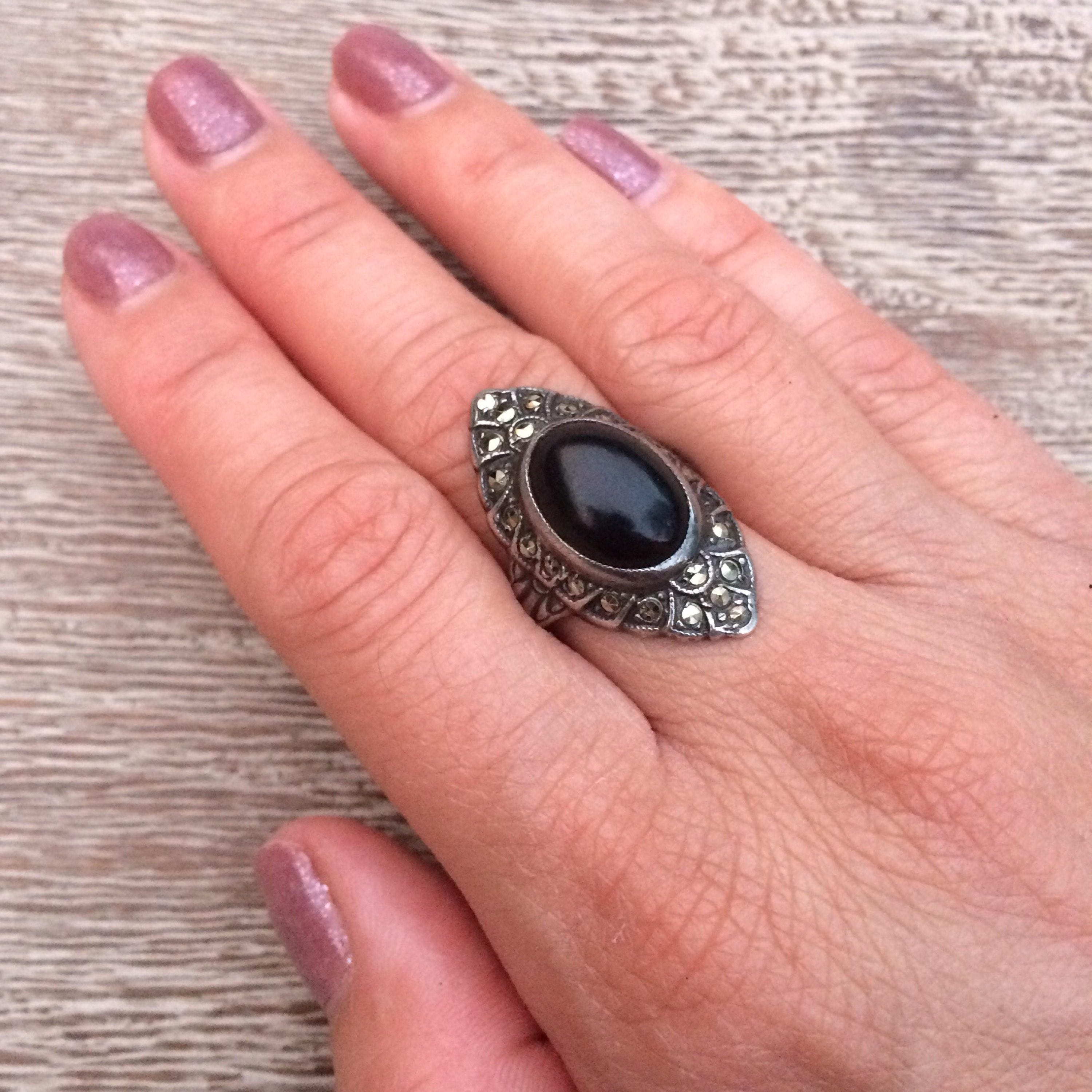 Vintage Art Deco Onyx Ring Sterling Silver Marcasite Navette