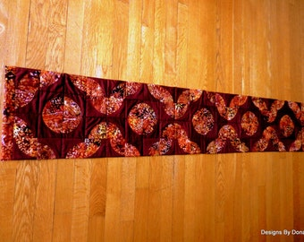 """Quilted Table Runner,  """"Drunkard's Path"""" Pattern, """"Stitch in the Ditch"""" Quilting, Batik,  One of a Kind, Handmade Table Linens"""