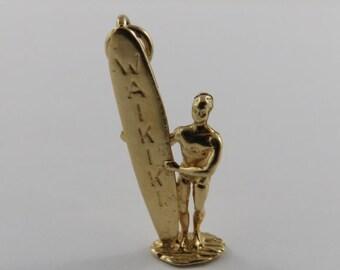 Surfer Holding Waikiki Surfboard 14K Gold Vintage Charm For Bracelet