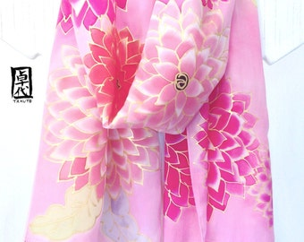 Large Silk Scarf Handpainted, Gift for her, Silk Fringe Scarf, Japanese Pink Silk Scarf, Pink Dreamy Dahlias Scarf, 14x72 inches