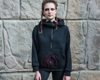 Sjöfn Hoodie - Black and Red version. Front zip and patchwork on the back. Viking Warrior Alien piece.