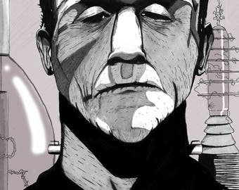 Frankenstein's Monster 11 x 17 B&W Print