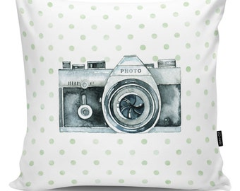 Decorative pillow Retro Camera dots