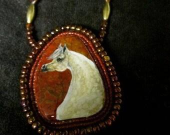 Handpainted Arabian Horse Necklace beaded On Jasper Stone