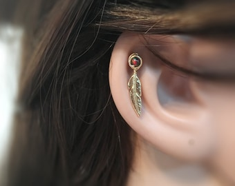 cartilage earring, cartilage piercing, cartilage stud, stud earring, feather cartilage, piercing, gold opal cartilage, crtilage, feather