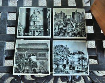 Paris Photo Art Coasters set of 4; black and white