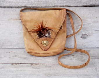 Vintage Leather Crossbody Bag, Brown Leather Bag with Feathers and Elephant Head, long strap Leather Bag, Women Showlder Bag, Festive Bag