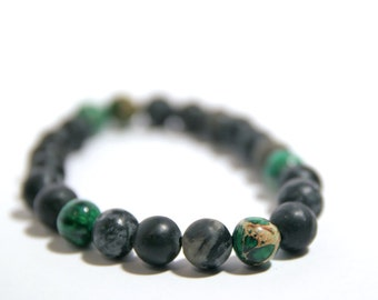 Gray Agate and Imperial Jasper Round Beads Bracelet