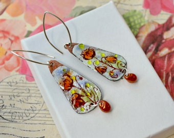 Artisan enamel earrings with sterling silver - Floral jewellery - Modern bohemian