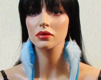White over Light Blue Feather Earrings, Real Feather Earrings