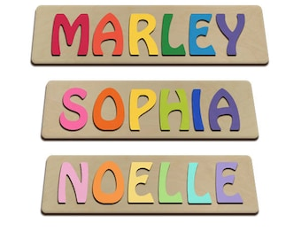 Hand Crafted Personalized Wooden Name Puzzles Child's Name, Custom Made Puzzle From Wood Word id216025629