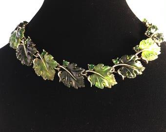 Lisner Necklace, Vintage Jewelry, Vintage Necklace, Lisner Jewelry, Green Necklace, Green Lucite Leaves, Lisner Lucite Leaf Vintage Choker