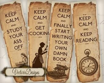 Keep Calm Bookmarks instant download printable digital collage sheet VD0454